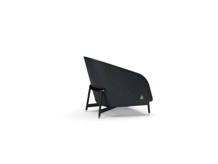 Contemporary Armchair by Fabio Arcaini Metal and Leather Seating For Sale 1