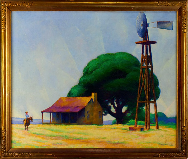 Ralph D. McLellan (1884-1977)  Rider on the Ranch, San Marcos, Texas, 1928 Oil on canvas, 30 x 36 in. Framed dimensions: 34 1/2 x 40 1/2 inches Signed and dated lower right: Ralph McLellan / '28  Born in 1884 in San Marcos, Texas, Ralph McLellan