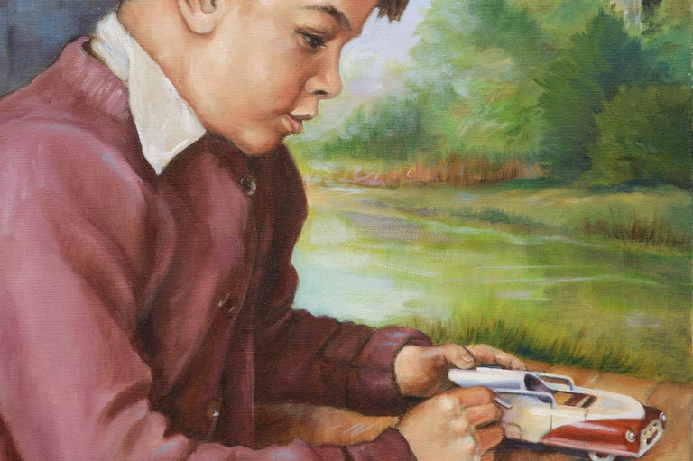 Boy with a Toy Car - Gray Portrait Painting by Ralph Edward Joosten
