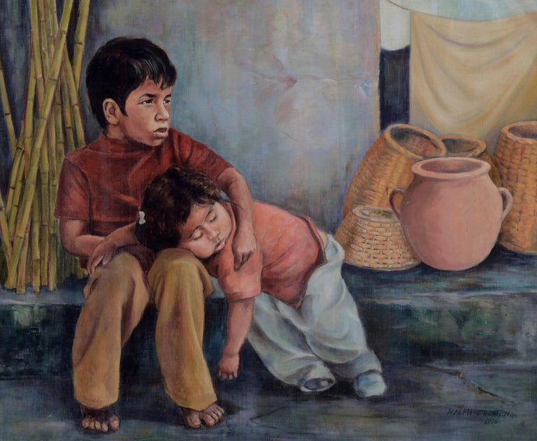 Siblings (Sleeping Sister) Mexico 1980 - Painting by Ralph Edward Joosten