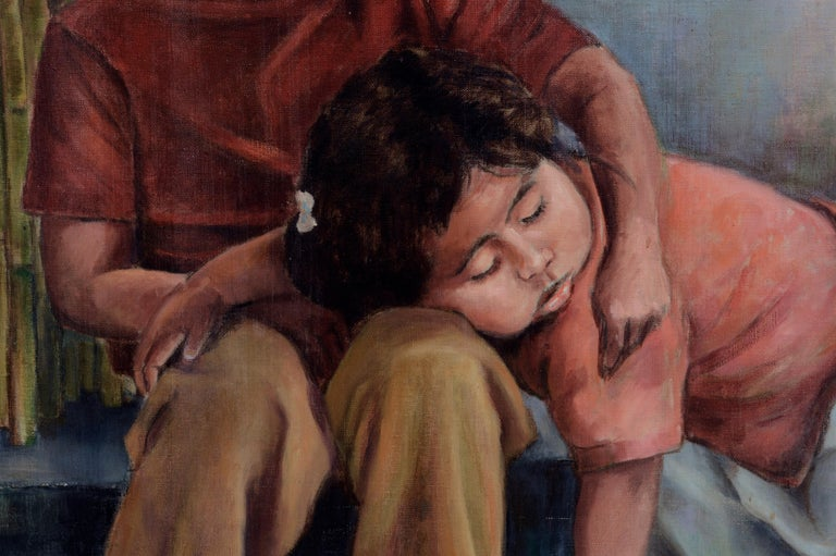 Siblings (Sleeping Sister) Mexico 1980 - Black Figurative Painting by Ralph Edward Joosten