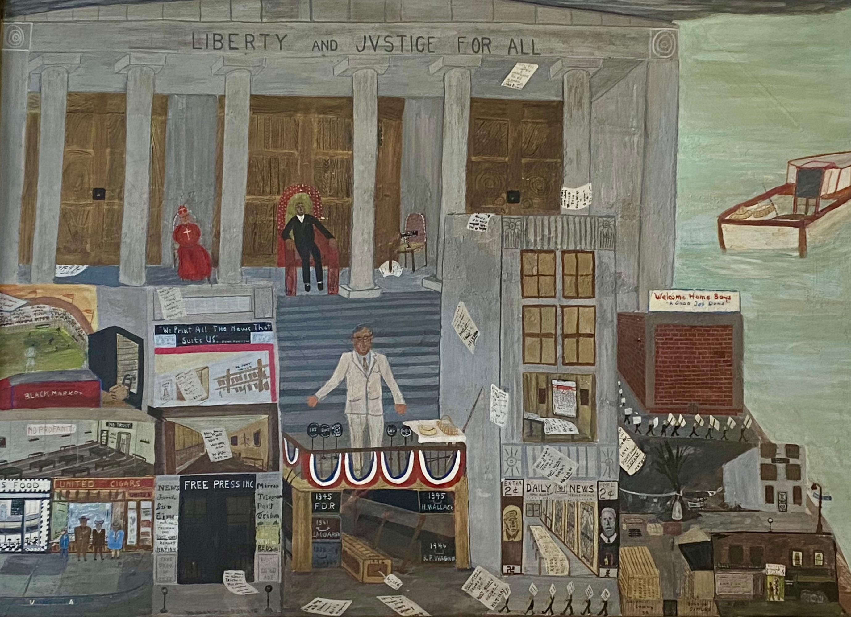 """Outsider Folk Art American Mid-Century Naive WWII  Self Taught """"Victory for Now"""""""
