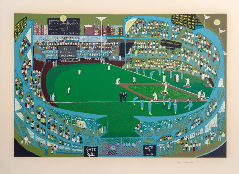Artist: Ralph Fasanella, American (1914 - 1997) Title: Ball Park Year: 1974 Medium: Screenprint on Arches Paper, signed and numbered in pencil Edition: 250 Image: 25 x 37 inches Size: 31 in. x 43 in. (78.74 cm x 109.22 cm)
