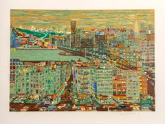 Bridges, New York Screenprint by Ralph Fasanella