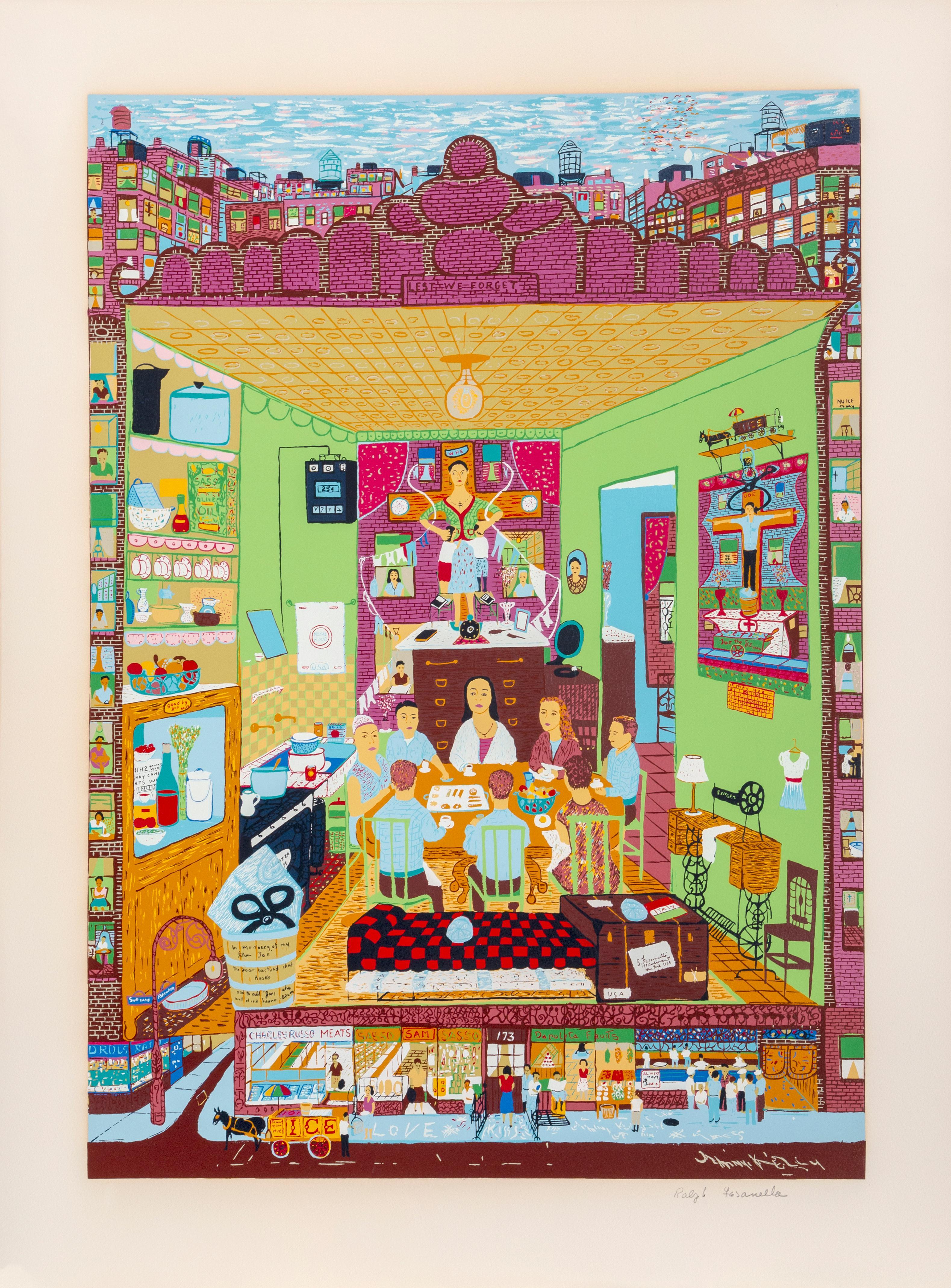 Family Supper, Serigraph by Ralph Fasanella