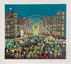 Feast of San Gennaro, New York Screenprint by Ralph Fasanella