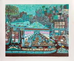 Going to Work, New York Screenprint by Ralph Fasanella