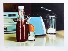 Blue Napkin Holder, Photorealist Lithograph by Ralph Goings