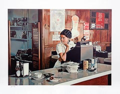 One Eleven Diner, Photorealist Lithograph by Ralph Goings