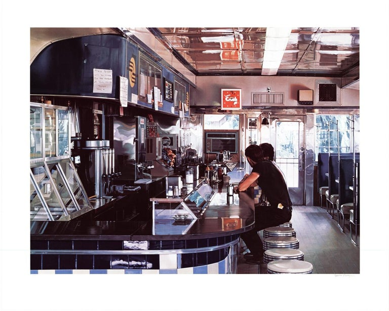 """Ralph Goings-Blue Diner-35"""" x 44""""-Serigraph-1995-Realism-Multicolor - Print by Ralph Goings"""
