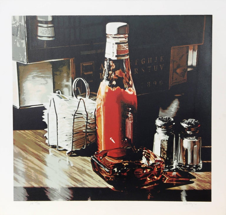 Artist: Ralph Goings, American (1928 - 2016) Title: Still Life With Sugars Year: 1981  Medium: Serigraph, signed and numbered in pencil  Edition: 300; 40 AP's Image Size: 19 x 20 inches  Paper Size: 22 x 23 inches