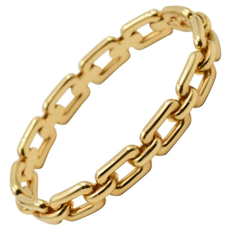 Ralph Lauren 18 Karat Rose Gold Chunky Chain Bangle Bracelet R4122420 For Sale