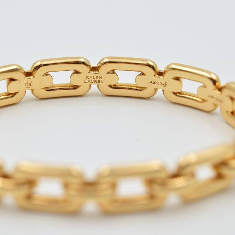 Women's or Men's Ralph Lauren 18 Karat Rose Gold Chunky Chain Bangle Bracelet R4122420 For Sale