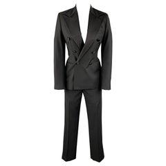 RALPH LAUREN 2 Black Wool Satin Peak Lapel Double Breasted Pants Suit Tuxedo