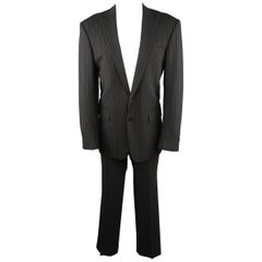 RALPH LAUREN 40 Black Pinstripe Wool Peak Lapel Suit
