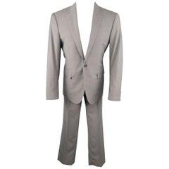RALPH LAUREN 40 Heather Gray Wool Notch Lapel Suit