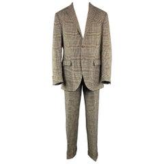 RALPH LAUREN 42 Long Black & Beige Glenplaid Flax / Silk 36 x 34 Suit