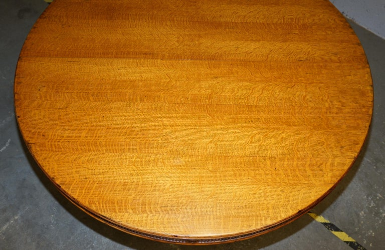 Hand-Crafted Ralph Lauren Hither Hills 6-10 Person Large Round Extending to Oval Dining Table For Sale