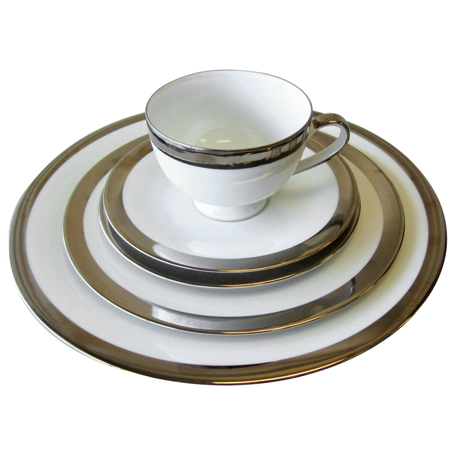 Ralph Lauren Academy Platinum Dinnerware, Set of 8 Place Settings