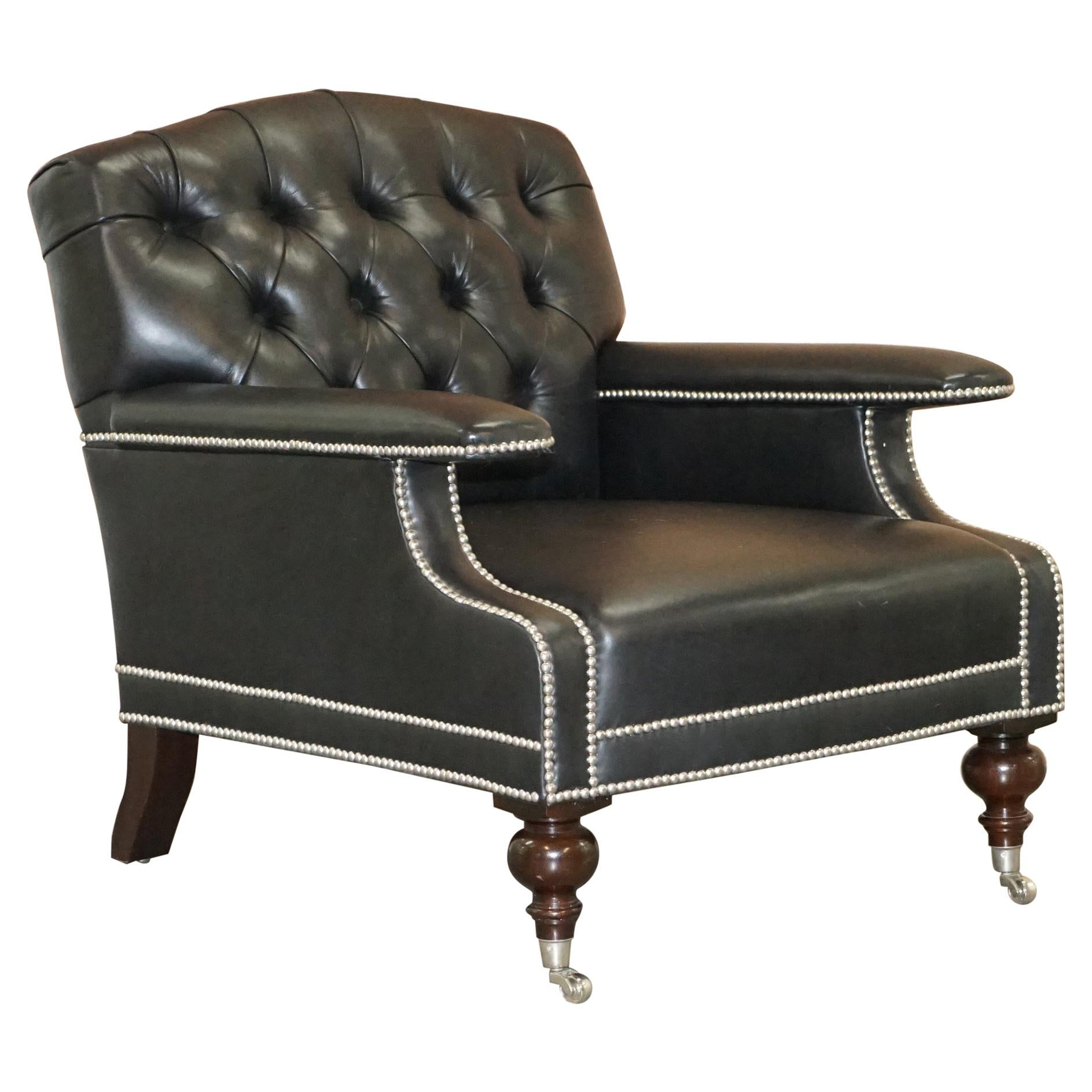 Ralph Lauren Alfred Black Leather Chesterfield Buttoned Club Armchair