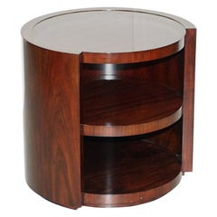 Ralph Lauren American Mahogany Drum Side End Lamp Wine Table and Shelves