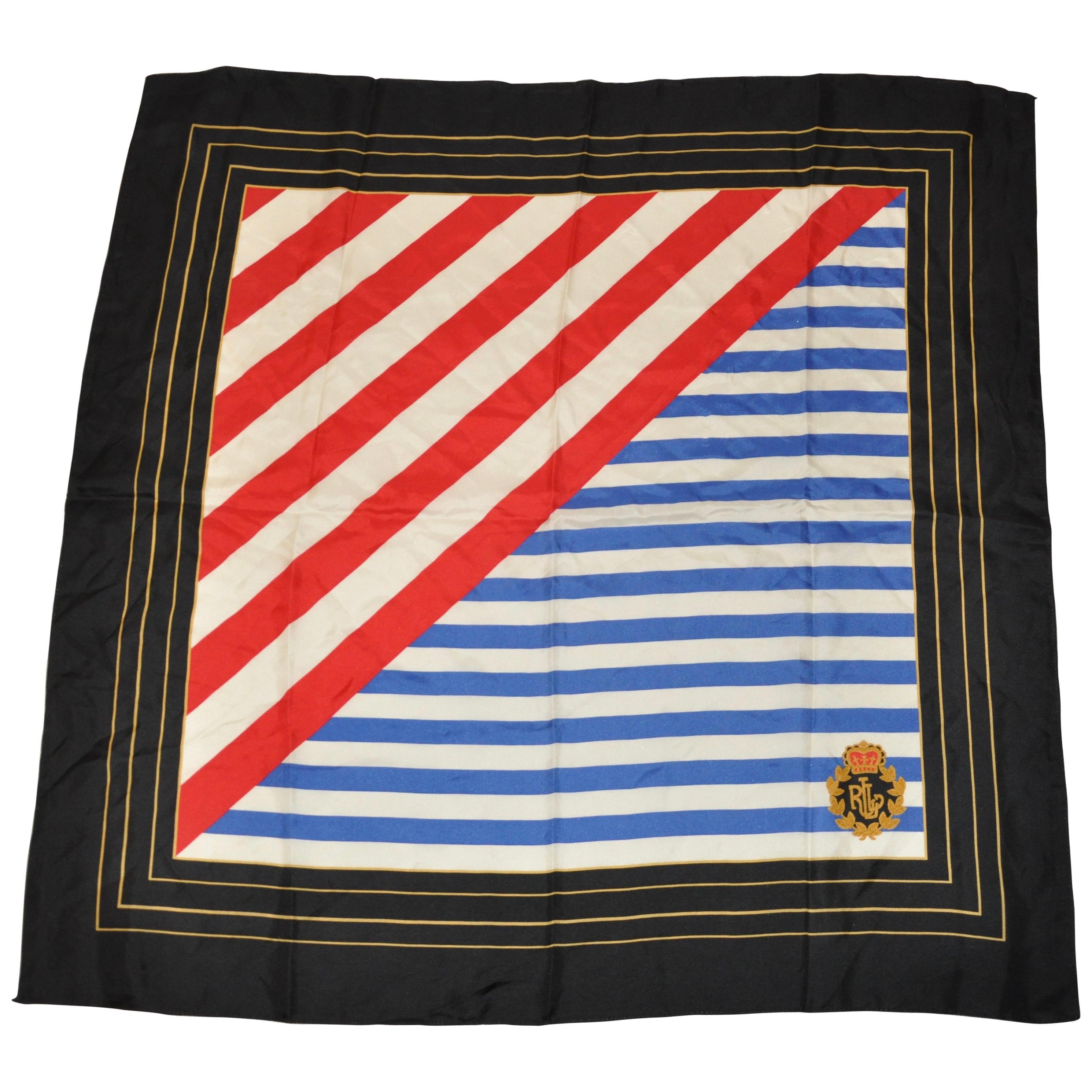 "Ralph Lauren ""Americana"" with Black Borders Silk Scarf"