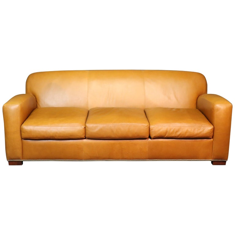 Art Deco Style Sofa In Apricot Leather