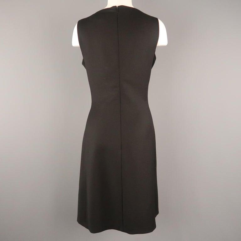 Women's RALPH LAUREN Back Label Size 8 Black Virgin Wool Sleeveless Shift Dress For Sale