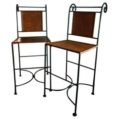 Ralph Lauren Bar Stools Leather and Wrought Iron, Classic and Sleek All in One
