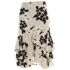 Ralph Lauren Beige and Black Floral Printed Silk Ruffled Skirt L