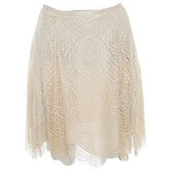 Ralph Lauren Beige Floral Scalloped Lace Flared Mini Skirt S