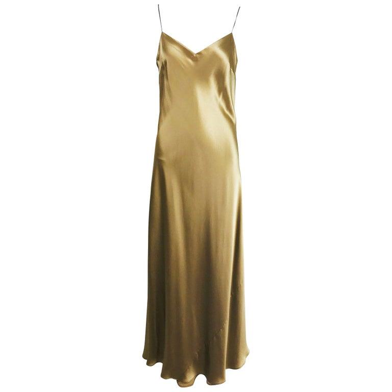 Ralph Lauren Bias Cut Gold Silk Satin Long Slip Dress At