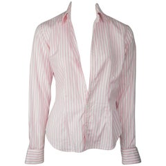 Ralph Lauren BL Pink and White Cotton Shirt w/ Bra - 4
