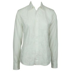 Ralph Lauren BL White Collared Shirt w/ Paisley Embroidery - 4