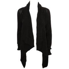 Ralph Lauren Black Cable Knit Cashmere Shawl Cardigan