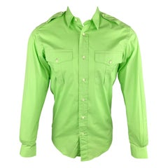 RALPH LAUREN Black Label S Lime Green Cotton Patch Pockets Long Sleeve Shirt