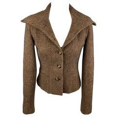 RALPH LAUREN Black Label Size 2 Brown Tweed Lambswool High Collar Jacket