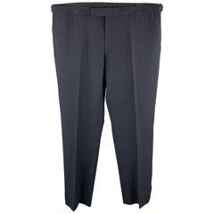 RALPH LAUREN Black Label Size 37 Navy Solid Wool Tuxedo Dress Pants