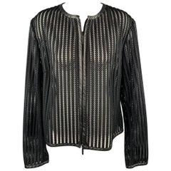 RALPH LAUREN Black Label Size 4 Black Mesh Polyester Leather Trim Jacket
