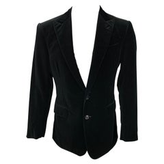 RALPH LAUREN Black Label Size 40 Black Velvet Cotton Peak Lapel Sport Coat