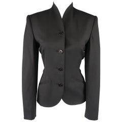 RALPH LAUREN Black Label Size 6 Black Wool Stand Up Collar Jacket
