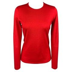 RALPH LAUREN Black Label Size M Red Jersey Cashmere / Silk Pullover