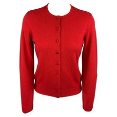 RALPH LAUREN Black Label Size M Red Knitted Cashmere Cardigan