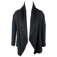 RALPH LAUREN Black Label Size S Black Cable Knit Cashmere Open Front Cardigan