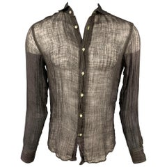 RALPH LAUREN Black Label Size S Black Contrast Stitch Linen Long Sleeve Shirt