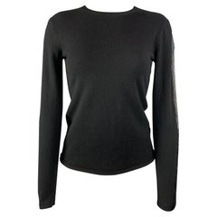 RALPH LAUREN Black Label Size S Black Knitted Cashmere Sequined Pullover