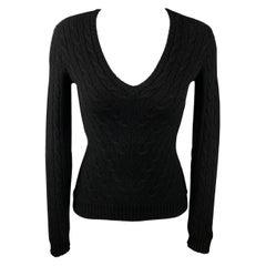 RALPH LAUREN Black Label Size S Black Knitted Cashmere V-Neck Pullover