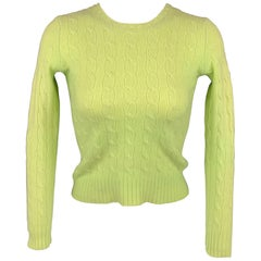 RALPH LAUREN Black Label Size S Chartreuse Knitted Cashmere Slim Fit Sweater