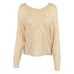RALPH LAUREN Black Label Size S Cream Hand Knit Silk Oversized Sweater