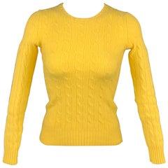 RALPH LAUREN Black Label Size S Yellow Cashmere Cable Knit Sweater